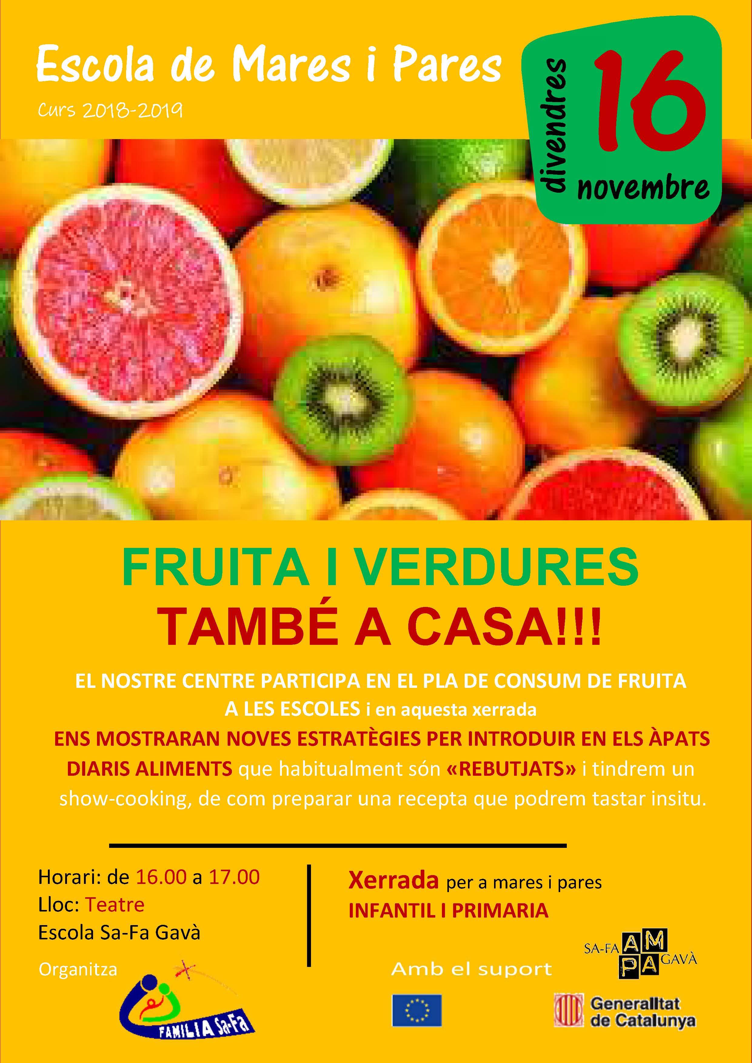 Apunteu-vos a la conferència: FRUITA I VERDURES TAMBÉ A CASA!!!