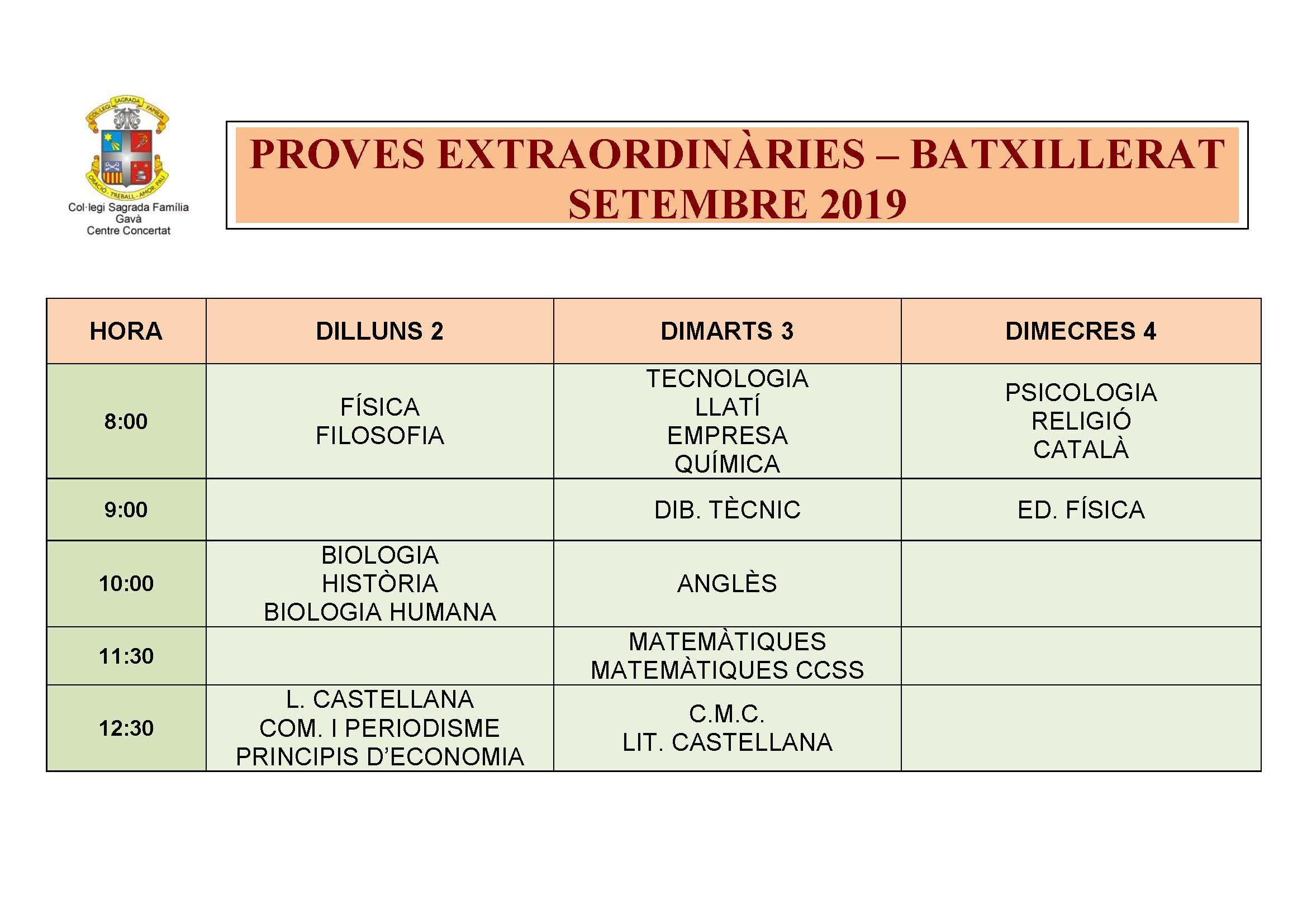 PROVES EXTRAORDINÀRIES – BATXILLERAT SETEMBRE 2019